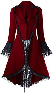 Soluo Women's Gothic Vintage Tailcoat Steampunk Waist Tuxedo Lace Stitching Victorian Trench Coat Jacket