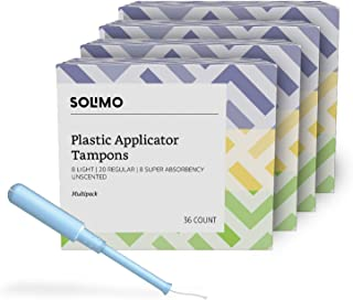 Amazon Brand - Solimo Plastic Applicator Tampons, Light Absorbency Multipack, Light/Regular/Super Absorbency, Unscented, 144 Count (4 packs of 36)