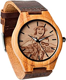 Godchoices Personalized Customized Wooden Watch with Photo Or Message Double-Side Engraving for Personalized Gift