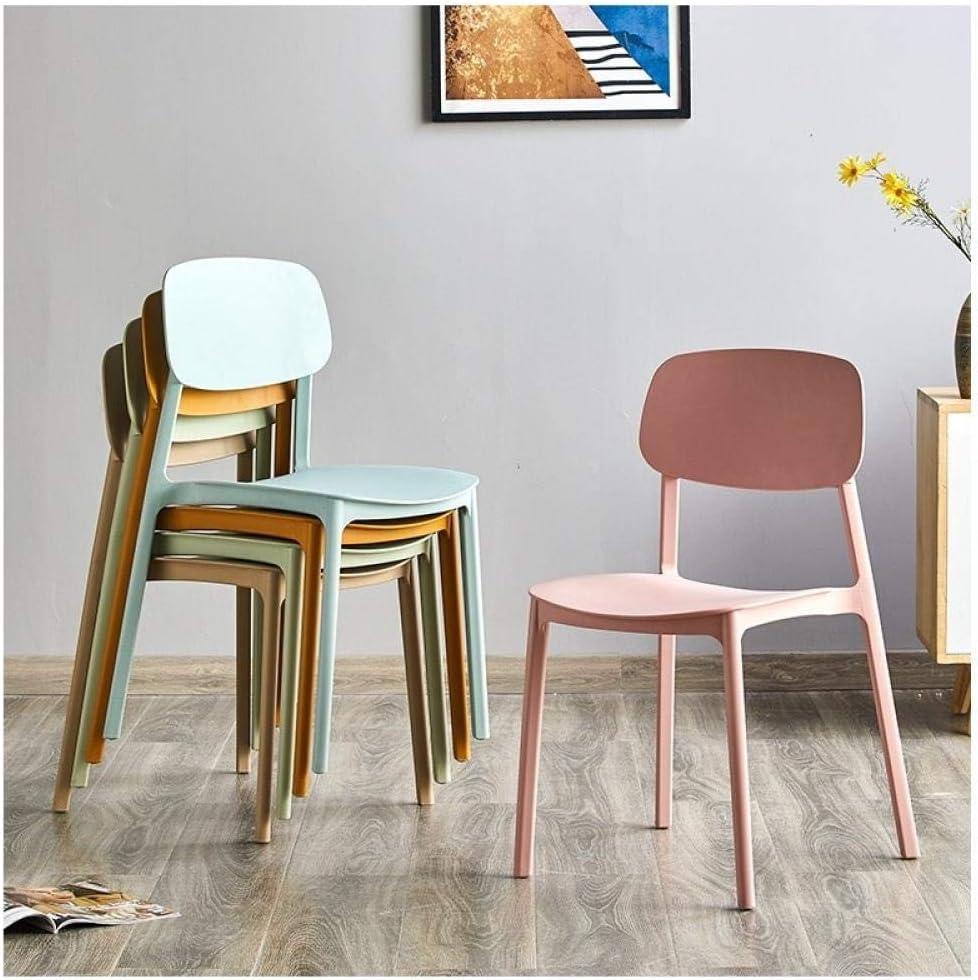 QingT Chaise de Salle à Manger de Chaise Accueil Chaise arrière/Chaise de Loisirs en Plastique Simple Moderne-Bleu Clair Rouge