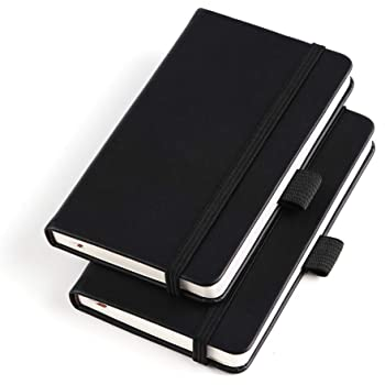 """(2 Pack) Pocket Notebook Small Hardcover Note Book 3"""" x 5.5"""", Mini Ruled Lined Journal, Leather Cover, with Pen Holder, Page Marker Ribbons, Inner Pockets, Black"""