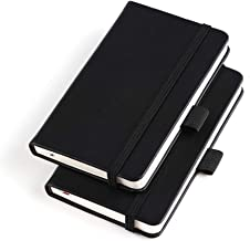 """(2 Pack) Pocket Notebook Small Hardcover Note Book 3"""" x 5.5"""", Mini Ruled Lined Journal, Leather Cover, with Pen Holder, Pa..."""