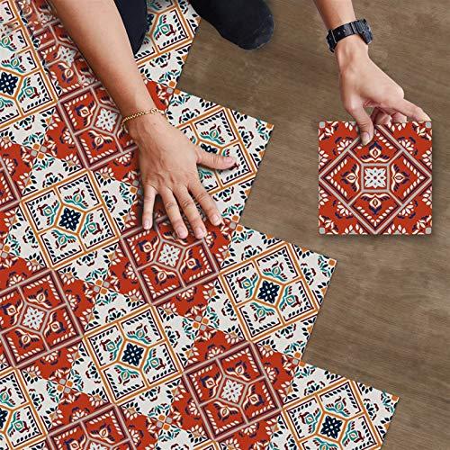 Pegatinas de baldosas de piso con costura multicolor vintage, antideslizantes, impermeables, para cocina, para salpicaduras, para azulejos, pegatinas de vinilo extraíbles para el suelo, para baño, sal
