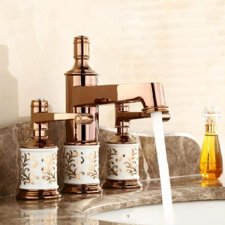 Becken Wasserhhne Messing Goldene 3 Lcher Doppelgriff Waschbecken Wasserhahn Luxus Bad Becken Badewanne Wasserhhne Hei Kalt Mischer Wasser