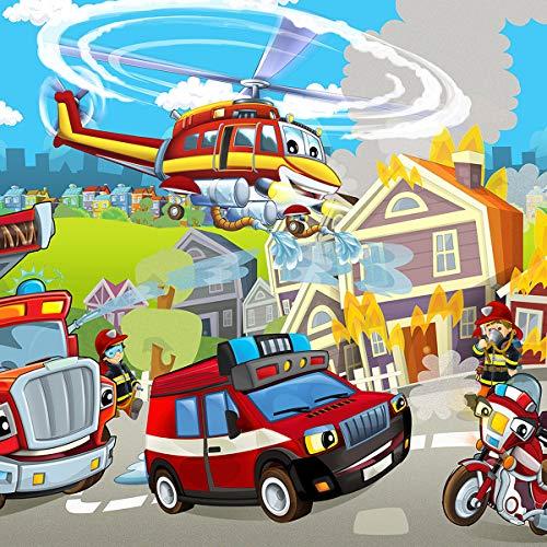 Forwall Fototapete Vlies Tapete Feuerwehr Kinderzimmer - Junge Feuerwehrmann Helikopter Moderne Wanddeko Wandtapete für Kinder 12549VEXXL 312cm x 219cm