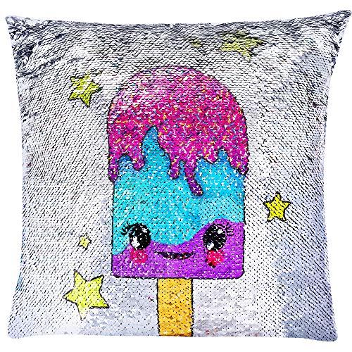 GirlZone Geschenke für Mädchen - Pailletten Kissen Mädchen mit Füllung 40x40cm Gross, bunter Farbwechsel Effekt durch Wendepailletten Kissen