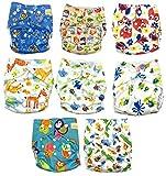 Keyloo - Pack couches lavables qualité supérieure - 8 couches écologiques 100% coton et 8 inserts bambou - couches unisexe taille unique ajustable nouveau né à 3 ans