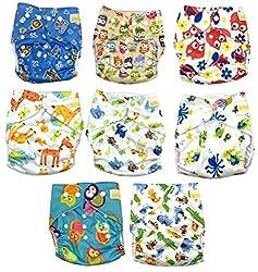 Keyloo - Pack couches lavables de qualité supérieure - 8x couches réutilisables - couches écologiques - avec insert en bambou - couches unisexe - taille unique ajustable - nouveau né à 3 ans