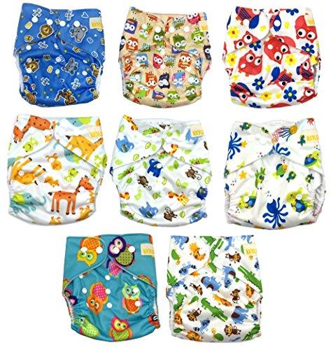 Keyloo - Pack couches lavables qualité supérieure - 8 couches écologiques 100% coton et 8 inserts...
