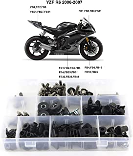 Xitomer Complete Bodywork Screws, for Yamaha YZF-R6 2006 2007, Full Set Fairing Bolts/Washers/Nuts/Clips/Grommets (Titanium)