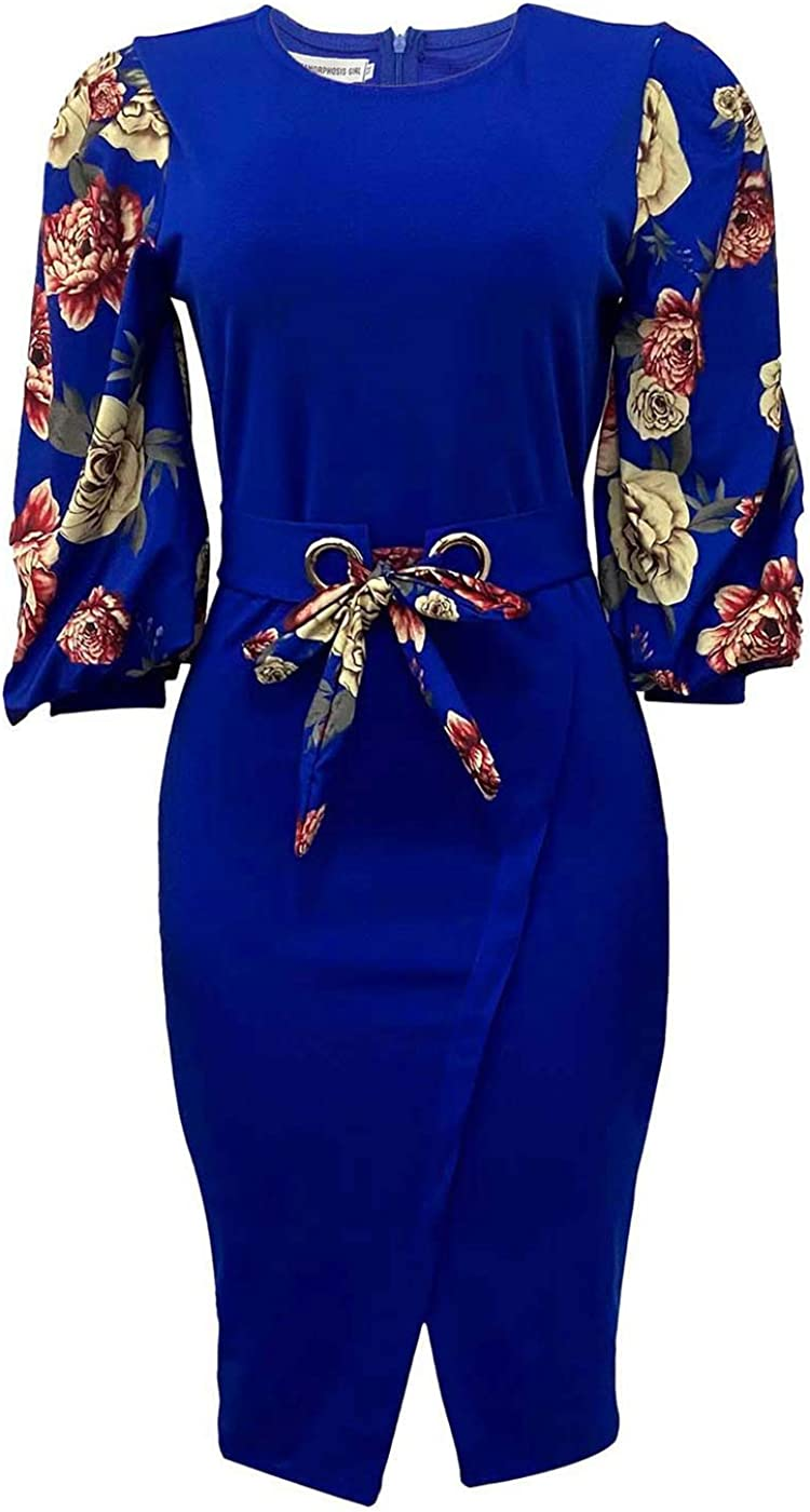 Womens Elegant Dress Bodycon Floral Long Sleeves Clubwear Midi Cocktail Dresses