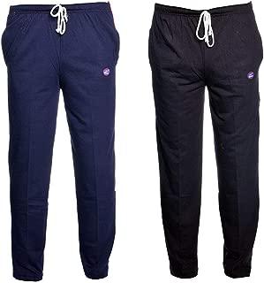 VIMAL JONNEY Navy Blue and Black Men's Cotton Trackpants (Pack of 2)-D1ND1B-P