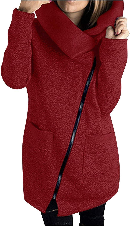 Women's Fashion Hoodies & Sweatshirts Casual Hooded Jacket Coat Long Oblique Zipper Outwear Tops
