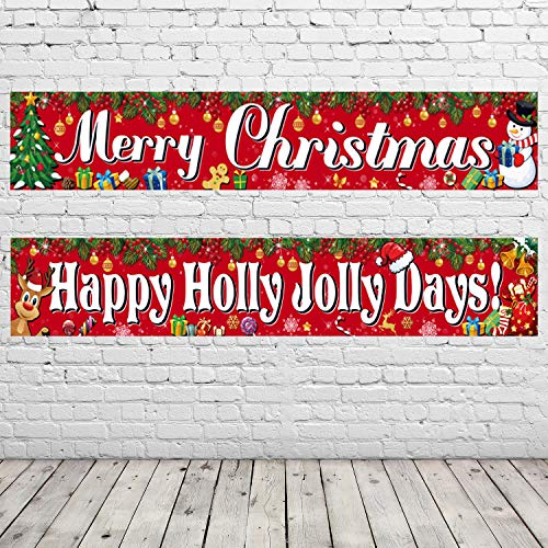 2 Pack Merry Christmas Banner Xmas Decorations Welcome Red Christmas Porch Banners Poster for Home Wall Indoor Holiday Party Winter Decor
