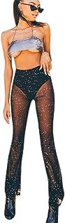 Women Rave Mesh Sheer Pants Flared Bell Bottom Pants for...