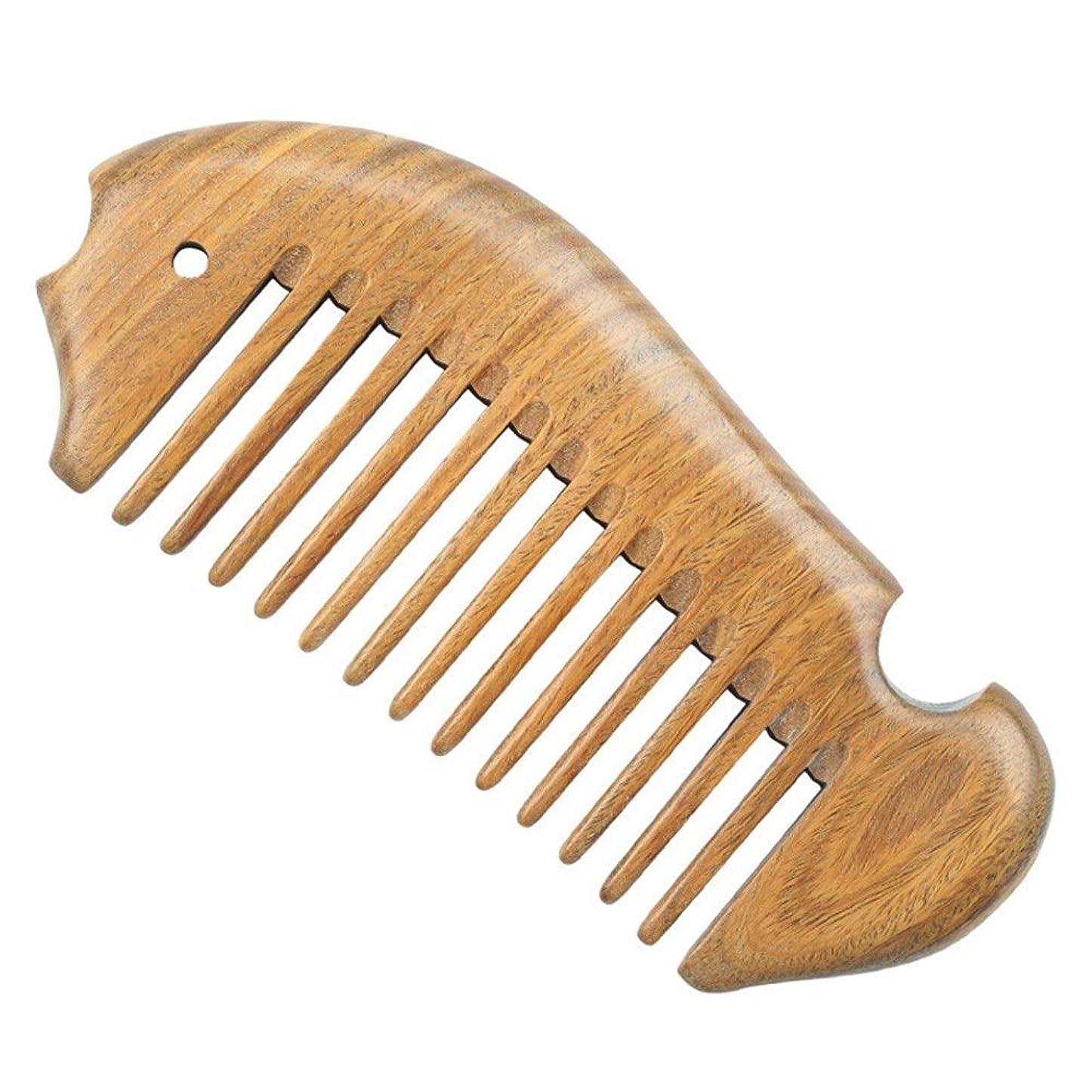 戦争できないボトルGuomao グリーンサンダルウッドコームナチュラルサンダルウッドウッドコーム広い歯の櫛全体ウッドコーム魚の形 (Size : 12*5*1 cm)