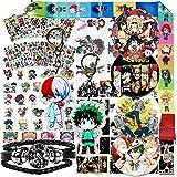 Anime My Hero Academia Stickers Gift Set - 30Pcs Postcards, 12Sheet Cartoon Laptop Stickers, 4 Button Pins, 2 Anime Keychains, 1Pcs Bracelet, 1Cratoon Anime Lanyard, 2Pcs Tattoo Sticker