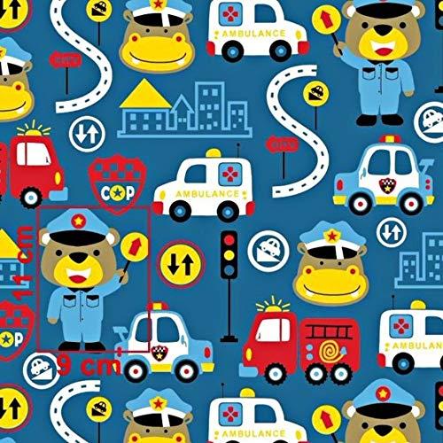Tela de algodón para ambulancia,  100% algodón,  para niños,  se vende por metros,  artesanía,  costura,  tela,  diseño de animales,  100 x 160 cm,  1 metro