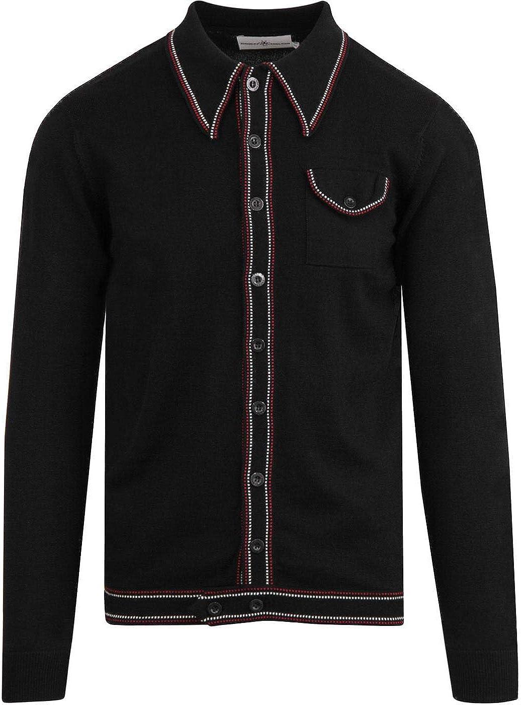 1960s Mens Shirts | 60s Mod Shirts, Hippie Shirts Madcap England Mens Long Sleeve Crawdaddy Polo Cardigan in Black £39.99 AT vintagedancer.com
