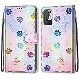 Guxira Hülle Leder für Xiaomi Redmi Note 10 5G Handyhülle, Schön Bunt Muster Klapphülle Lederhülle mit [Stoßfestes Silikon] [Kartenfachr], Schutzhülle Klappbar Flip Hülle Cover - Fußabdruck