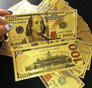 Party Favors - Props Money 24k Gold Foil Dollar 100 Usd Bills Commemorative Collections Banknote Colorful Fake - Rustic Value Makers Adult Gymnastics Superhero Sunglasses Babies Linen Volle