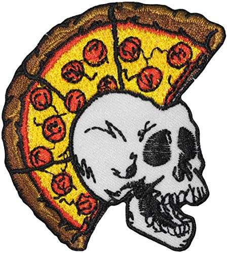 papapatch Skelett Totenkopf Pizza Head Punk Ride Motorrad Chopper Jacke Weste Kostüm DIY Nähen Eisen auf Patch Aufnäher Badge Schild bestickt–Braun (iron-skull-pizza-punk-brown)