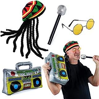 Tigerdoe Rasta Hat with Dreadlocks - 4 Pc Set - Stoner Costume - Jamaican Rasta Hat – Reggae Costume Black