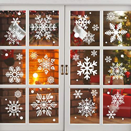 KATELUO 190 Schneeflocken Fensterbild,Fensterbilder Weihnachten, Schneeflocken Aufkleber Statisch Fensterbilder,für Weihnachts-Fenster Dekoration,Schaufenster, Vitrinen, Glasfronten