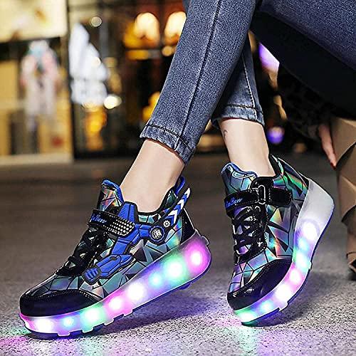 Chaussures Avec Rouleaux Garçons Filles LED Chaussures Clignotantes Chaussures Double Roue 7 Couleur Changement USB Rechargeable Roues Rétractables Roues Roues De Planche À Roulettes,Blue-41 EU