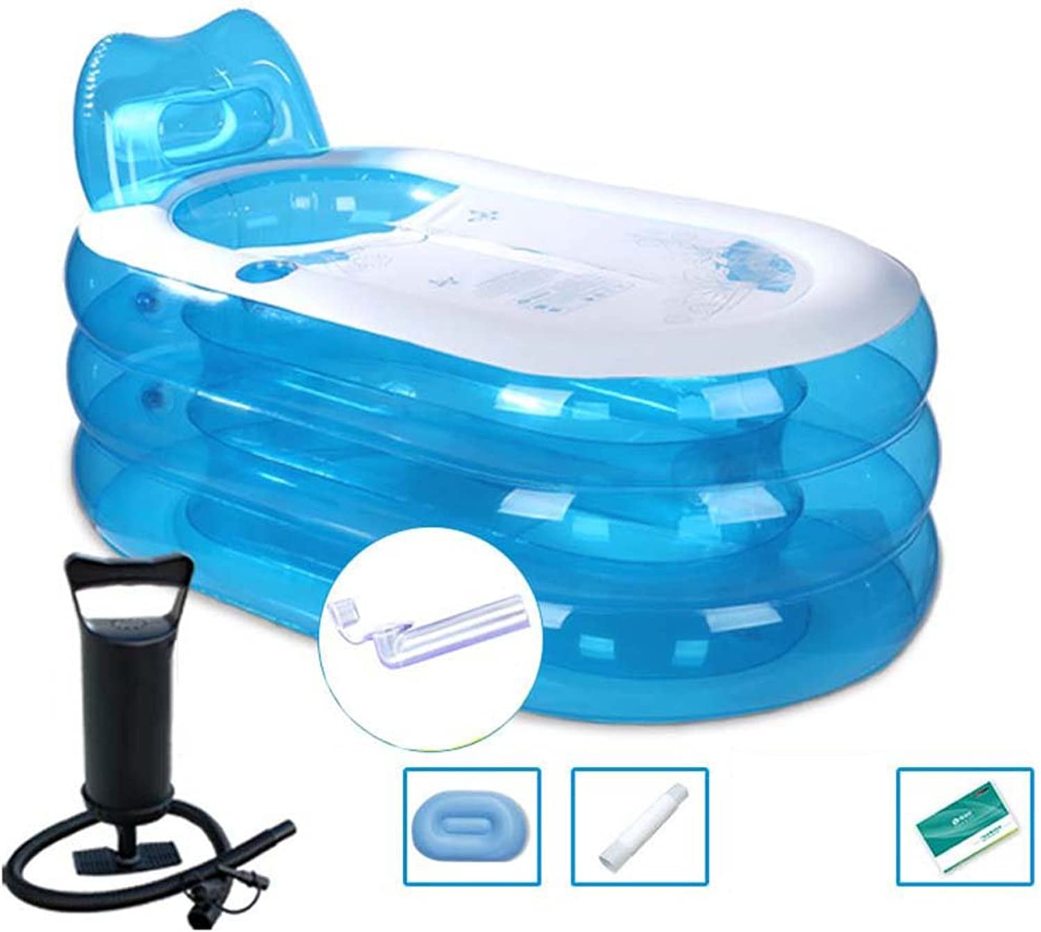 Ali@ Environmental PVC Inflatable Adult Folding Bathtub for Indoor Outdoor Use (color   Transparent bluee, Size   Large)