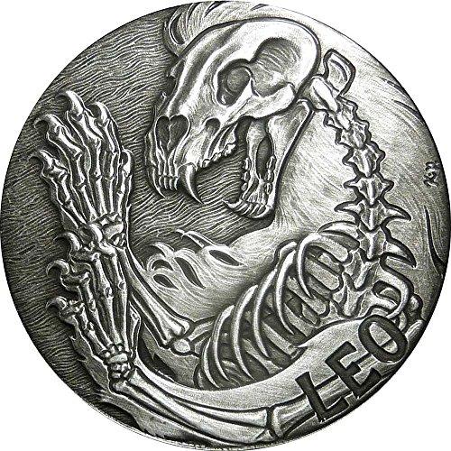 Leo Memento Mori Zodiac Skull Horoscope Silver Coin 2015 Monnaie