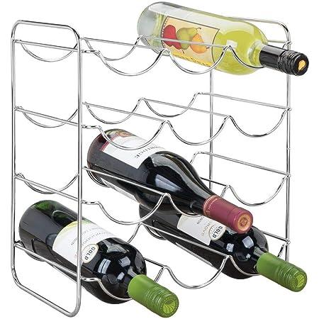 mDesign Range Bouteille en métal pour Boissons – Porte Bouteille vin pour Jusqu'à 12 Bouteilles d'Eau ou vin – casier Bouteille pour Coin Cuisine, kitchenette, cellier, frigo – argenté