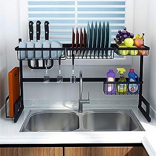 MJK Étagère de rangement de cuisine de ménage, sur le support de séchage de plat d'évier, étagère de présentation d'égoutt...