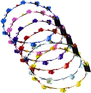 LUGOW Stirnbänder für Frauen LED Club Party Concert Leuchten Bright Flash Glowing Stirnband Flexible Boho Floral Stirnband Haarschmuck Haargummis Damen Haarreife