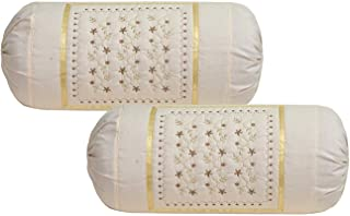 Rj Products™ Cotton Bolsters Cover Beige - Pack of 2 (Skin)