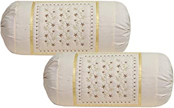 Rj Products Embroidered Cotton Bolsters Cover Maroon - Pack of 2 (Skin)
