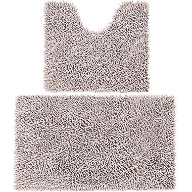 Vdomus Microfiber Bathroom Rugs Combo, 2 Piece Rug Set, Includes 20  x 32  Soft Shaggy Bath Mat and U-Shaped Toilet Floor Rug, Machine Washable(Beige)