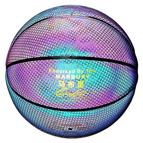 Best Buy! YZPXDD Holographic Glowing Reflective Basketball, Luminous Flashing Basketball NO.7 for Ni...