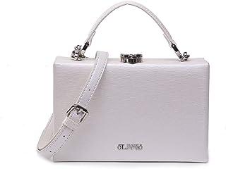EVERMORE Clutch Weiß Abendtasche Damen Crossbody Bag Damen Klein Handtasche Handgelenktasche Frauen mit Metallkurzkette Ve...