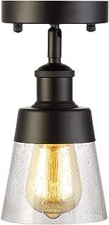Modern Industrial Glass Flush Mount Light Fixture Mini Clear Seeded Glass Shade Semi Flush Mount Ceiling Light for Hallway Farmhouse Kitchen Entryway, Black