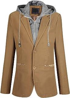Mirecoo Slim fit men's 2-button blazer sweat jacket with hood