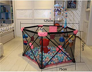 Fence-products Baby Playards Portable Foldable Compact Room Divider Non-Toxic Materials With Mat Safety Play Yard For Girls Boys Beach Backyard Home Park playpen  Color Pink