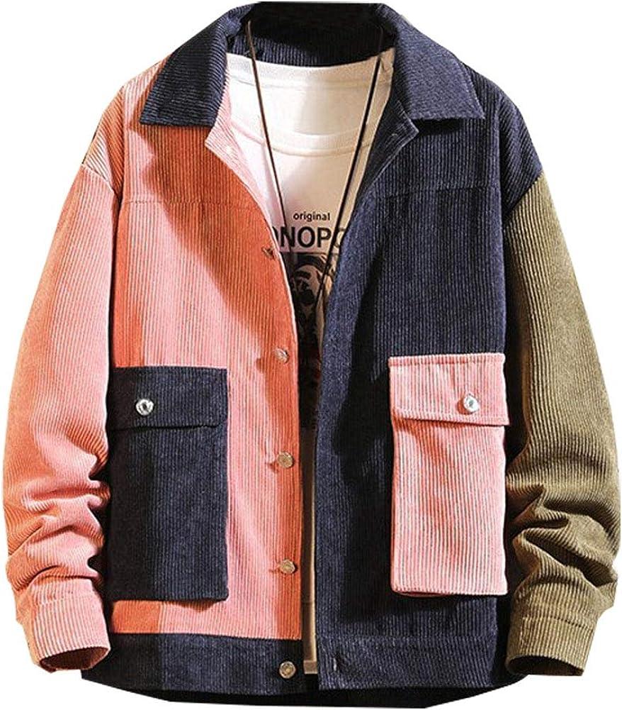 LifeHe Men's Casual Patchwork Corduroy Jacket Coat