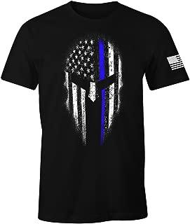 Thin Blue Line USA Flag Spartan Men's T Shirt