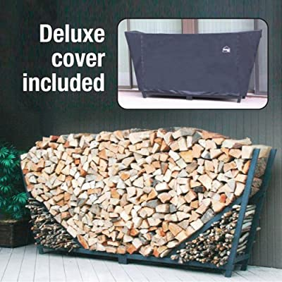 Shelter It Slanted Firewood Log Rack with Kindling Wood Holder and Waterproof Cover,23110-P