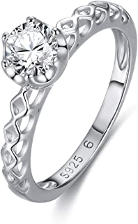GW Women Silver Ring 925 Sterling Silver Band Rings for Women in Size 5/6/7/8 Wedding Engagement Ring