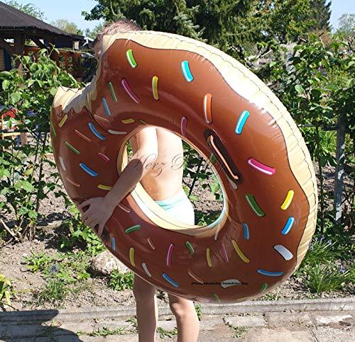 Blue Wave Aufblasbarer Schwimmreifen Donut mit Biss Style ~90 cm Durchmesser Schoko