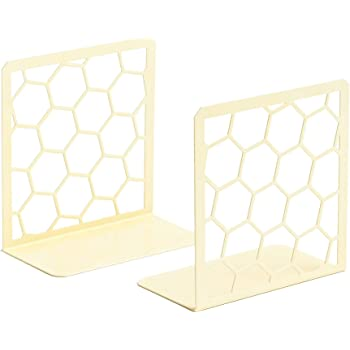 GEOMOD Decorative Geometric Honeycomb Metal Bookends (Yellow, 1 Pair) Book Ends for Tables, Desks, Shelves