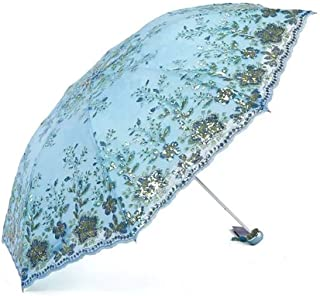 XIAO Sun Umbrella,Foldable,Sunscreen Coating, Windproof UV Protection Big Straight Umbrella Happy day (Color : Light Blue)