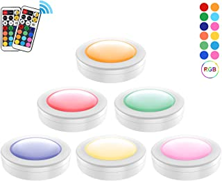 ORAOKO LED Puck Lights with Remote Controls, RGBW Wireless Colors Changing Under Cabinet Lighting Battery Powered Closet Light Dimmable Timing Counter Lights, 6 Pack